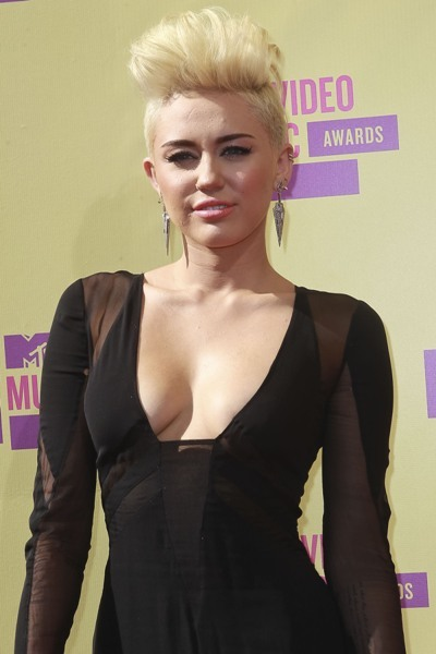 Miley Cyrus with a mohawk