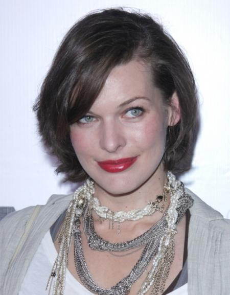Milla Jovovich's short layered hairstyle