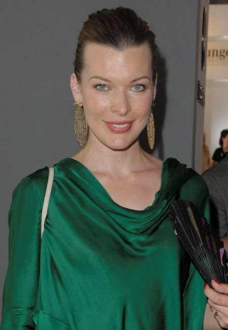 Milla Jovovich's sleek, updo hairstyle