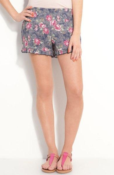 Floral Print Ruffle Shorts