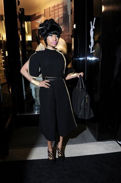 Nicki Minaj in black dress
