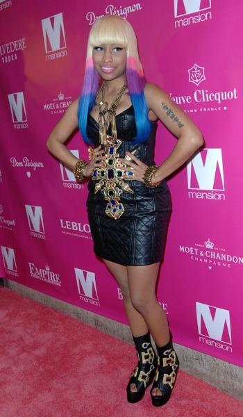 Nicki Minaj in leather dress