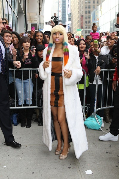 Nicki Minaj in fur coat