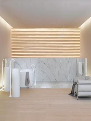 Beige and white minimalist bathroom