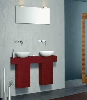 Minimalist bathroom with red accents