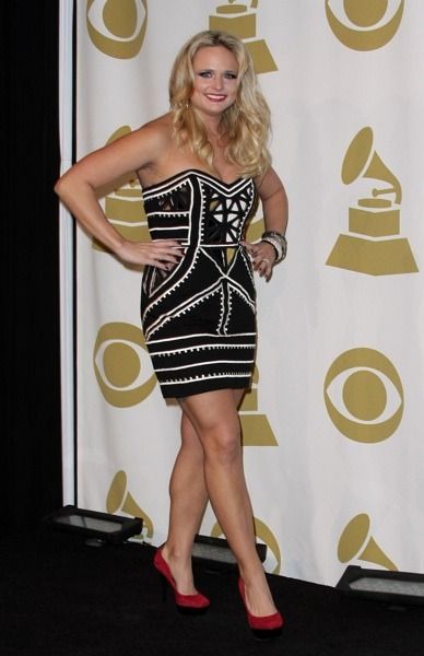 Miranda Lambert in black mini dress