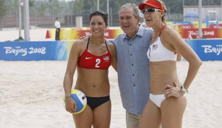 Misty May with George W. Bush