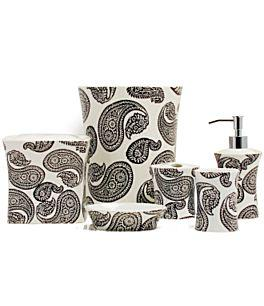 Paisley black and white accessories - Black and white bathroom ideas