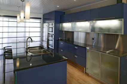 Modern kitchen with blue & steel