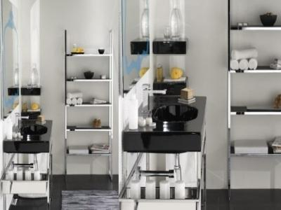 Black and white shelved bathroom