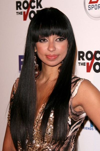 Mya's sexy, sleek hairstyle with bangs