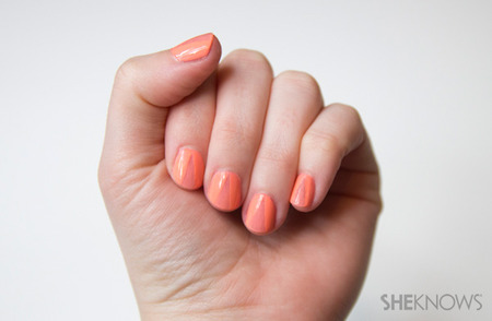 Peach nails with a sliver of pink