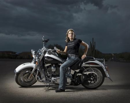 Nat and Harley-Davidson in AZ desert