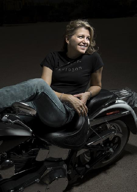 Natalie on her motorcycle