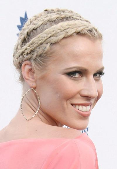 Natasha Bedingfield's braided updo hairstyle