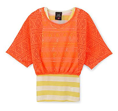 Neon crochet mesh-layered top
