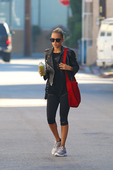 Nicole Richie wears leather to the gym
