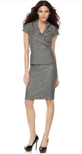 Short sleeve ruffle collared skirt suit.