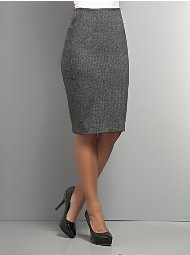 Grey Plaid Pencil Skirt
