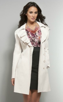 Ruffled-Collar Beige Trench