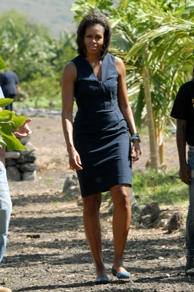 Michelle Obama in a denim dress