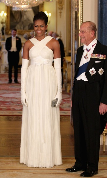 Michelle Obama in white gloves