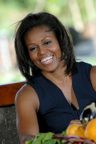 Michelle Obama with smokey eye makeup