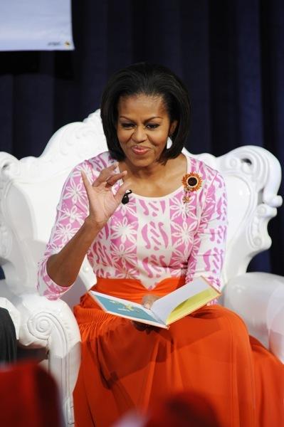 Michelle Obama in orange