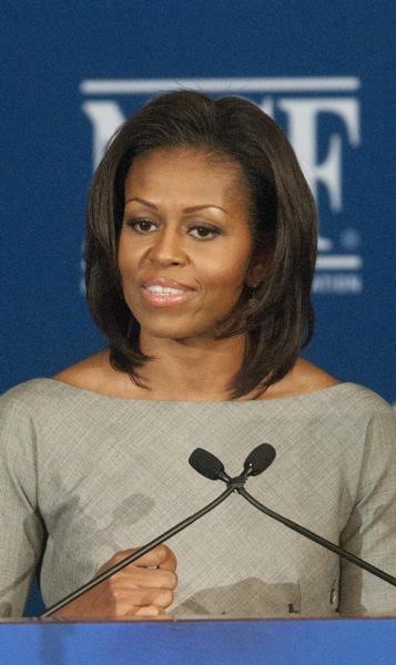 Michelle Obama in a boat neckline
