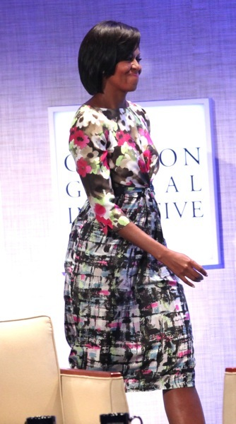 Michelle Obama in mixed patterns