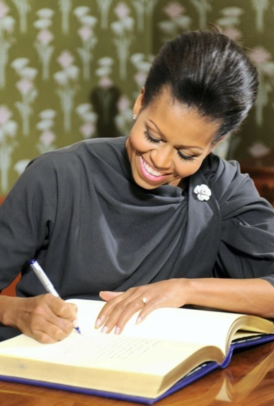 Michelle Obama with a brooch