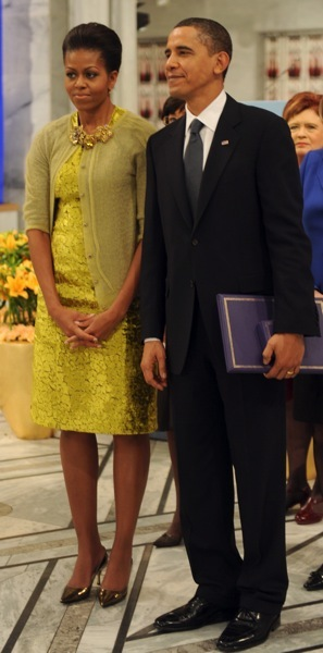 Michelle Obama in a yellow dress