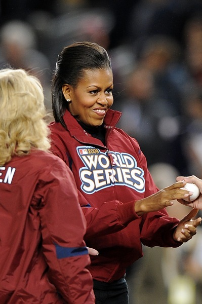 Michelle Obama at the World Series