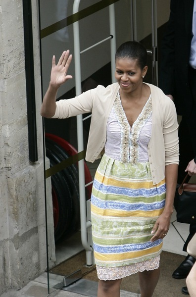 Michelle Obama in stripes