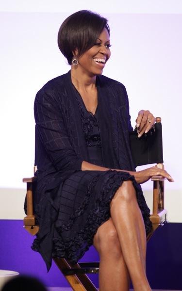 Michelle Obama in a black dress