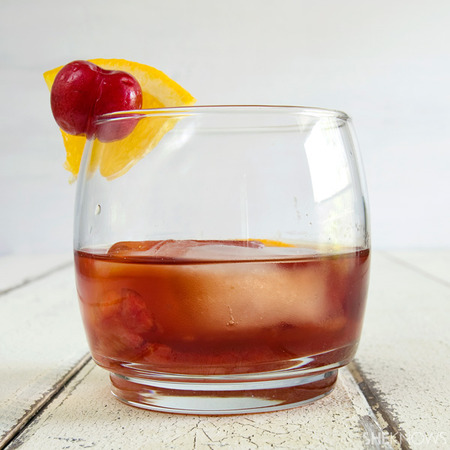 Cherry-infused old fashioned cocktail