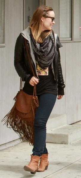 Olivia Wilde with fringe bag