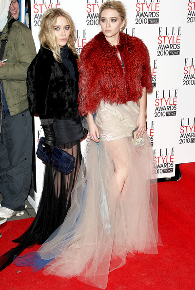 Mary-Kate and Ashley Olsen at the ELLE Style Awards 2010 at the Grand Connaught Rooms in London. Photo courtesy of WENN.
