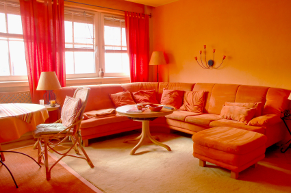 red yellow orange themes orange living room