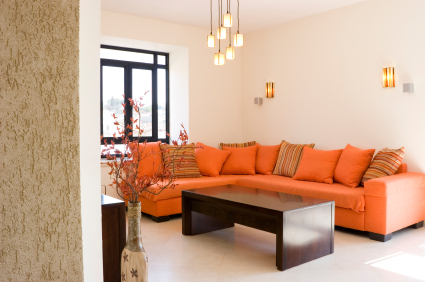 Orange - Living & family room ideas