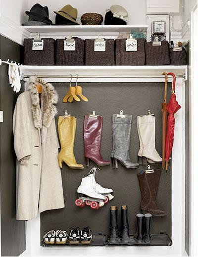 A great solution for small spaces, removing the closet door from your entryway coat closet creates the illusion of more
