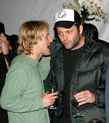 Owen Wilson and Vince Vaughn have a glass of wine