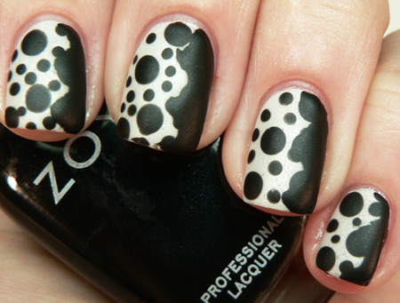 Black and White Dots Nails