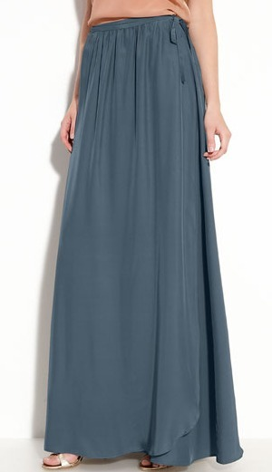 Long Silk True Wrap Skirt