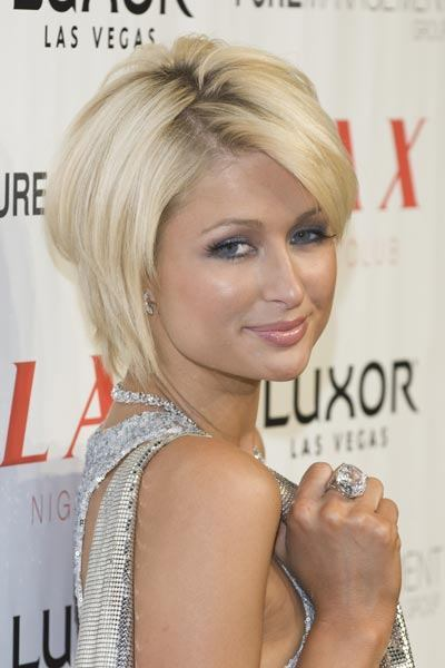 Paris Hilton's short touseled bob