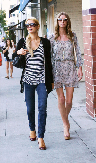Paris and Nicky Hilton out shopping in West Hollywood
