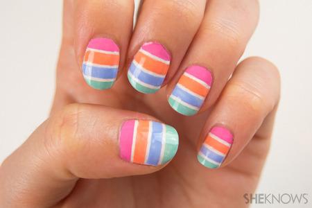 Pastel striped nail art