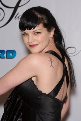 Celebrity tattoos pauley perrette angel tattoo for Pauley perrette tattoos