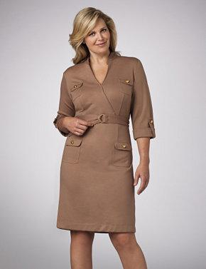 Belted Ponte Knit Dress