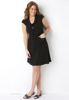 Cowl Neck Button Dress